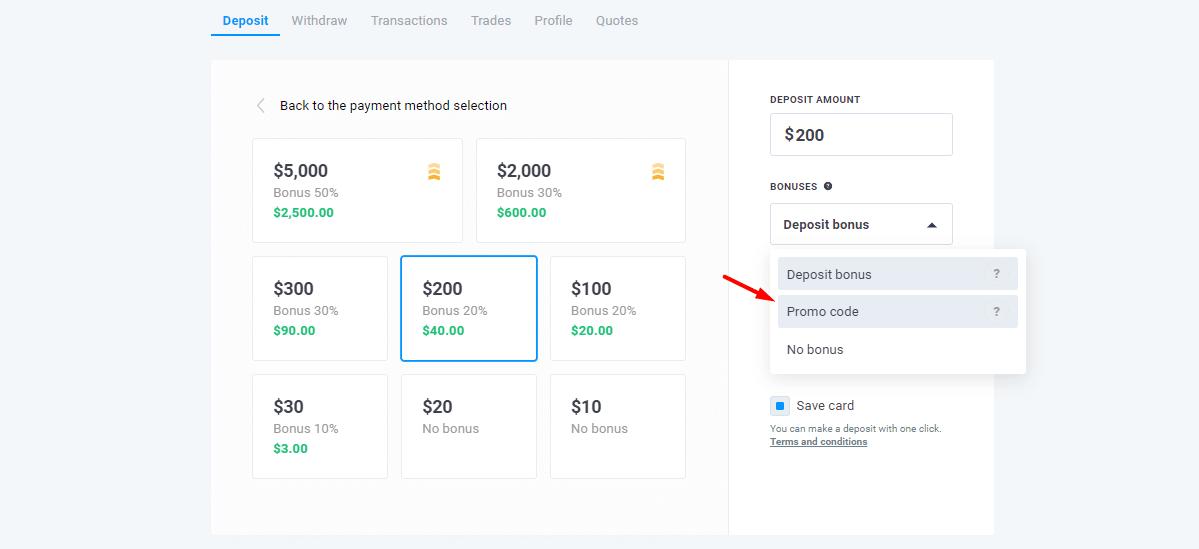 enter 50% bonus on deposit