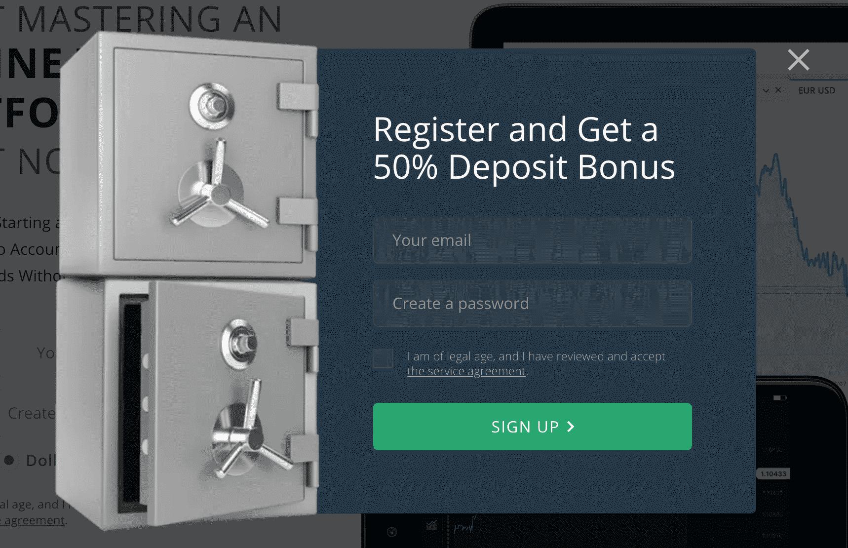 50% de bonificación en el depósito