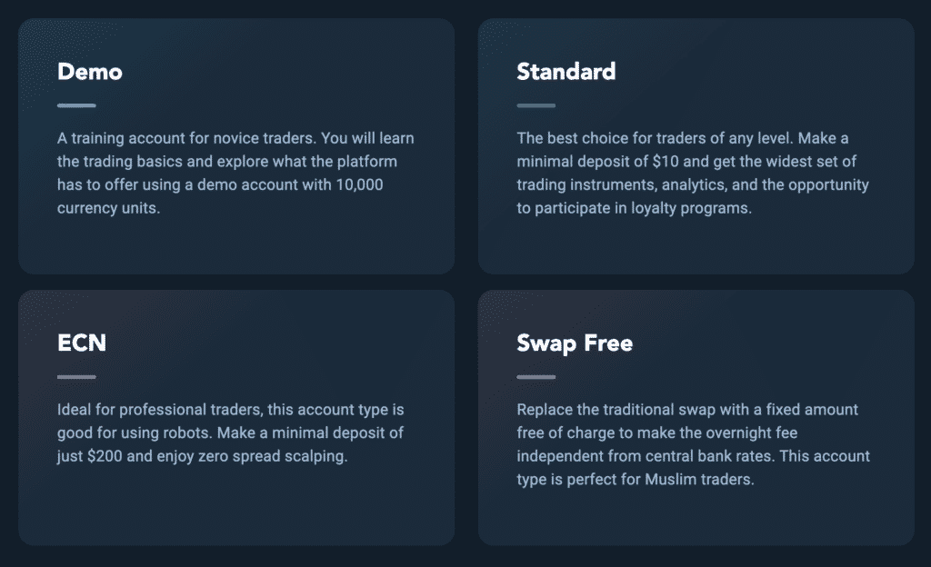 Olymp Trade Account Types