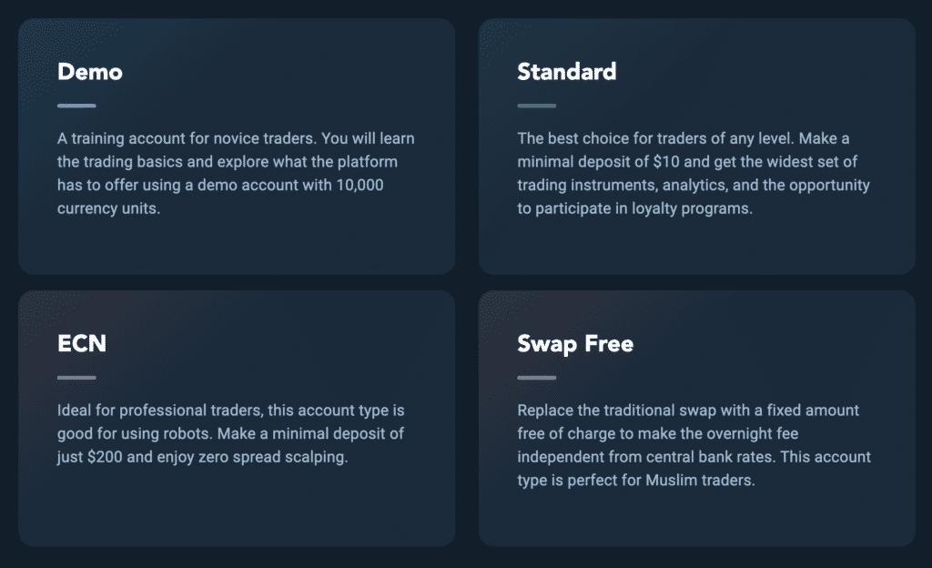 أنواع حسابات Olymp Trade